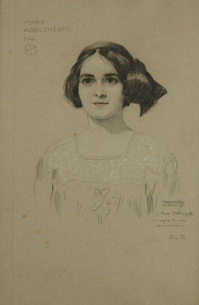 Raphaël KIRCHNER (1876-1917) Portrait de Mary Koblenzoff  Fusain sur papier, signé...