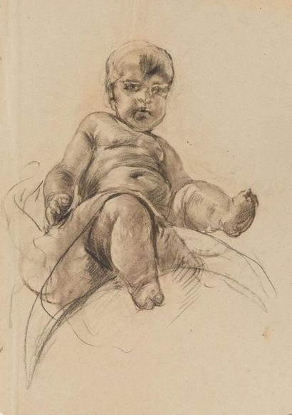 Mosè Bianchi (1840-1904) Putti  Fusain sur papier  52 x 36.5 cm. - 20 1/2 x 14...