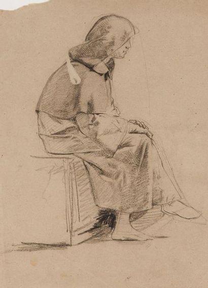 Mosè Bianchi (1840-1904) Paysage  Fusain sur papier  59 x 39 cm. - 23 1/4 x 15...