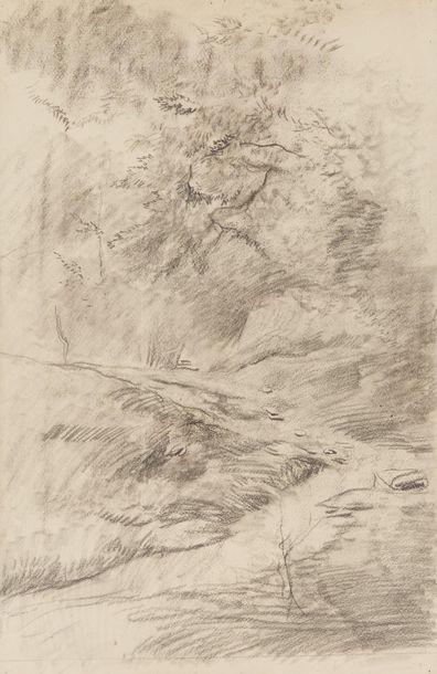 Mosè Bianchi (1840-1904) Religieux assis  Fusain sur papier  34 x 24.5 cm. - 13...