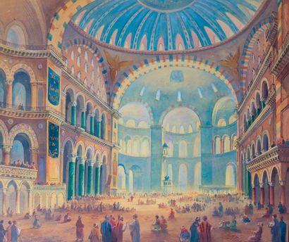 J. FOSSAT (XIX-XX) L'intérieur de Sainte Sophia  Aquarelle et gouache sur papier,...