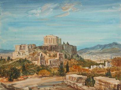 Albert DECARIS (1901-1988) La Parthénon, Athènes  Aquarelle sur papier, signée en...