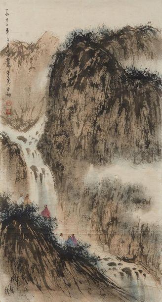 FU BAOSHI (1904-1965) Attribué à Paysage à la cascade  Encre et couleur sur papier,...