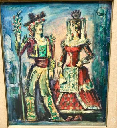 Pedro FLORES (1897-1967) Couple Huile sur toile signée en haut à droite, contresignée...