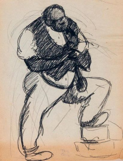 Paul COLIN (1892-1985) Série sur le Jazz,  Trompetiste  Fusain sur papier signé...