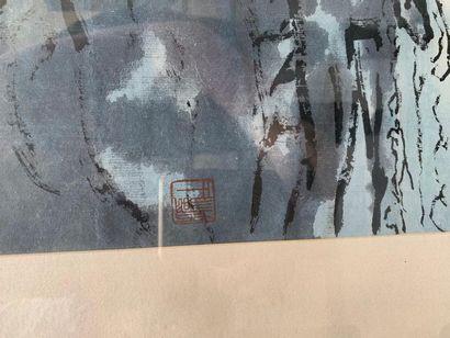 Ecole chinoise du XX La cascade  Aquarelle et gouache sur papier, marquée du cachet...