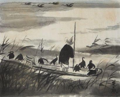 LIN FENGMIAN (1900-1991) Pêcheur et cormorans  Encre et couleur sur papier  Signée...