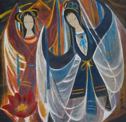 LIN FENGMIAN (1900-1991) Série des Opéras Chinois  Encre et couleur, signée et marquée...