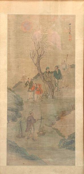 Ecole chinoise du XXème Scènes animées,  Gravures  Signées et marquées du cachet...