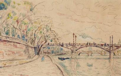 Paul SIGNAC (1863-1935) Paris, le pont de arts, 1928  Aquarelle et crayon sur papier,...