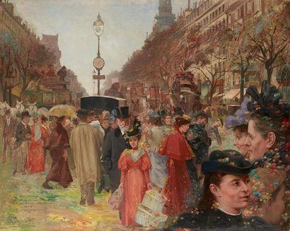 Henri Dominique ROSZEZEWSKI (XIX-XX) Mi-carême, Angle rue Drouot et Boulevard des...