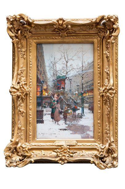 Eugène GALIEN-LALOUE (1854-1941) Boulevard Saint-Martin et Quai du Louvre  Gouache...