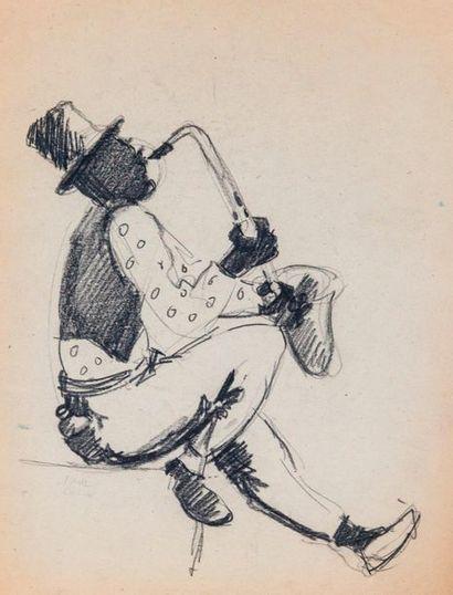 Paul COLIN (1892-1985) Série sur le Jazz,  Le saxophone  Fusain sur papier signé...