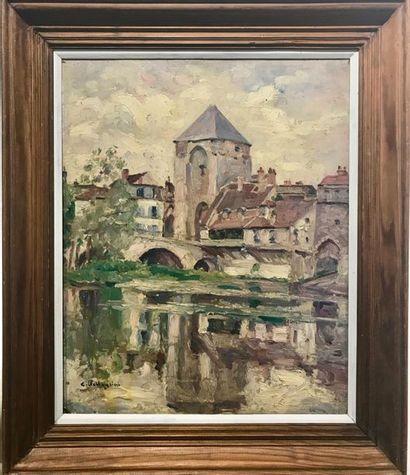 Carlo PELLEGRINI (1866-1937) Moret sur Loing,  Huile sur panneau, signé en bas à...