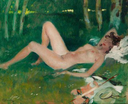 Jean Gabriel DOMERGUE (1889-1962) Femme alanguie  Huile sur isorel, signée en bas...