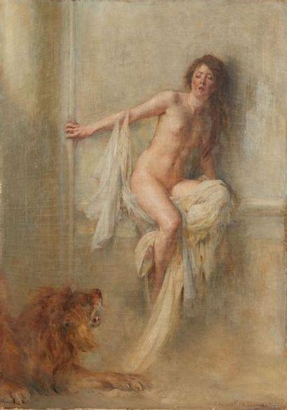 HENRI COURSELLES-DUMONT (1856-1918) Jeune femme au lion  Huile sur toile  Signée...