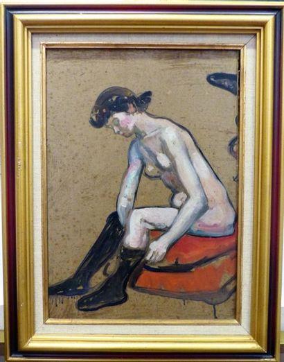 Fernand PIET (1869-1942) Femme au bas  Huile sur carton  42.5 x 29 cm. - 16 3/4...