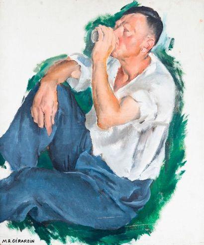ROLAND MARIE GERARDIN (1907-1935) Etude d'homme  Huile sur toile, signée en bas...
