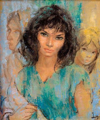 GINA Portrait de trois jeunes femmes  Huile sur toile, signée en bas à droite  62...