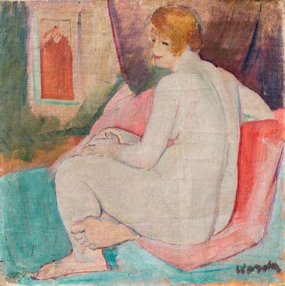 Vince KORDA (1897-1979) Femme nue de dos  Huile sur toile, signée, située Paris...