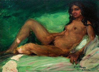 Zsigmond NAGY (1872-1932) La tigresse , 1917  Huile sur panneau, signée, datée 1917...