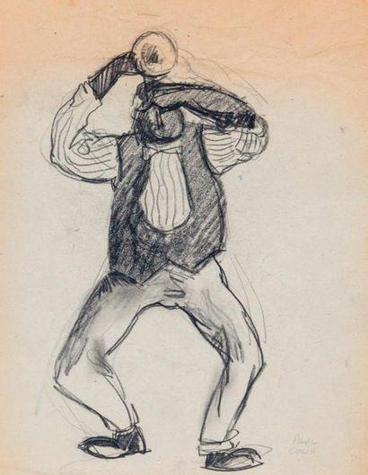 Paul COLIN (1892-1985) Série sur le Jazz,  La trompette  Fusain sur papier signé...