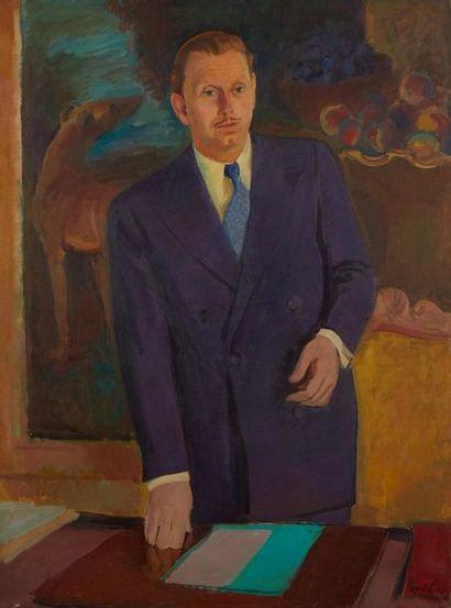 Milivoy UZELAC (1897-1977) Portrait d'homme, vers 1930  Huile sur toile, signée...