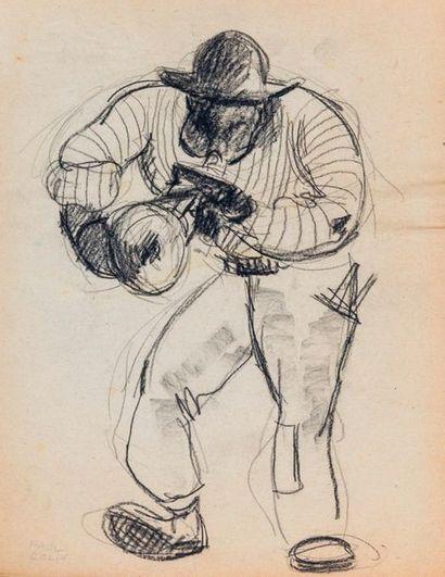 Paul COLIN (1892-1985) Série sur le Jazz,  Le trompettiste  Fusain sur papier...