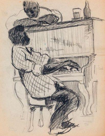 Paul COLIN (1892-1985) Série sur le Jazz,  Pianiste  Fusain sur papier signé en...