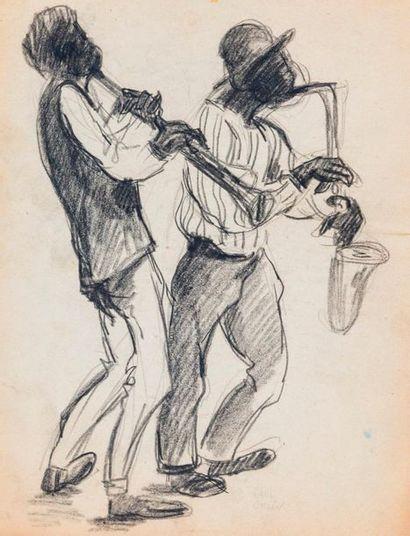 Paul COLIN (1892-1985) Série sur le Jazz,  La trompette et le saxo  Fusain sur...