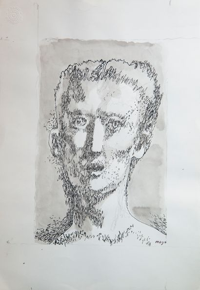 Antoine MAYO (1905-1990)  Portrait  Encre...