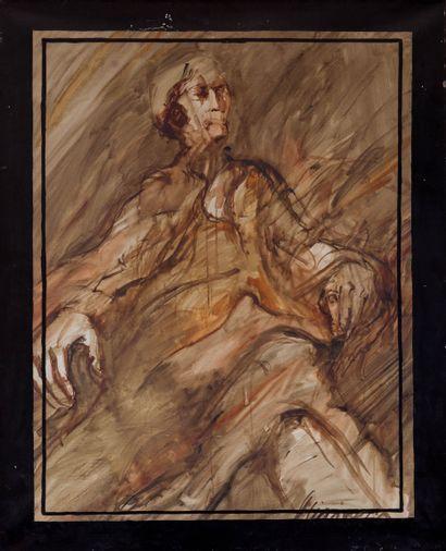 Claude WEISBUCH (1927-2014)  Homme assis...
