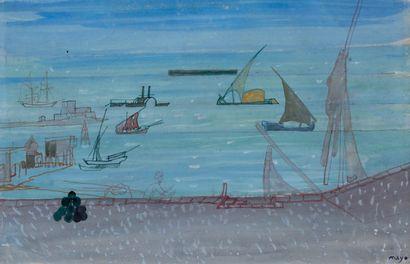 Antoine MAYO (1905-1990)  Port en Égypte...