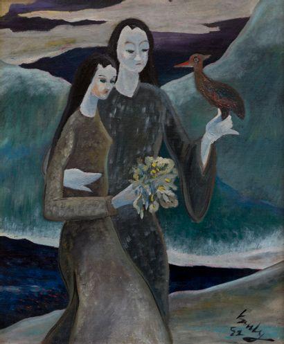 Adham WANLY (1908-1959)  Deux femmes et oiseau...