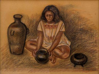 Raul Anguino VALADEZ (1915-2006)  Jeune fille...