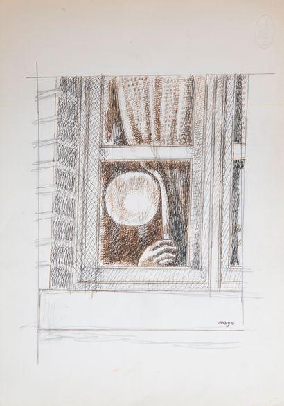 Antoine MAYO (1905-1990)  La fenetre  Encre...