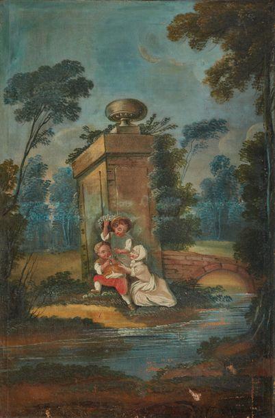École française du XIXe siècle  Trois enfants...