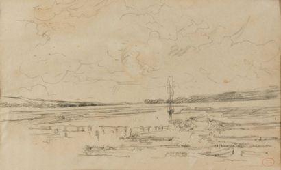 Paul HUET (1803-1869)  Marine  Fusain portant...