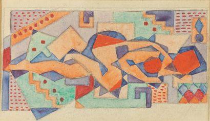 Jean METZINGER (1883-1956),  Nu cubiste allongé...
