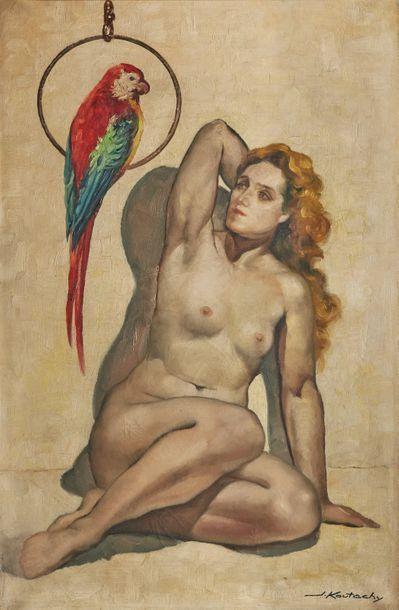Joseph KOUTACHY (né en 1907)  Nu au perroquet...