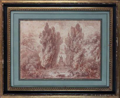 École française du XVIIIe siècle  Scène galante dans un parc  Sanguine.  Haut. 35...