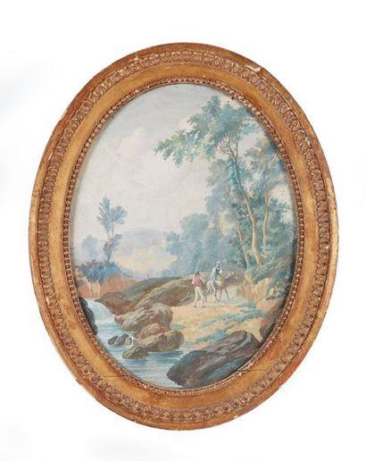 École française vers 1800  Paysage animé...