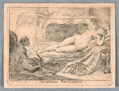 Gabriel de SAINT-AUBIN (1724-1780)  L'Académie Particulière  Eau-forte. Dacier 47...