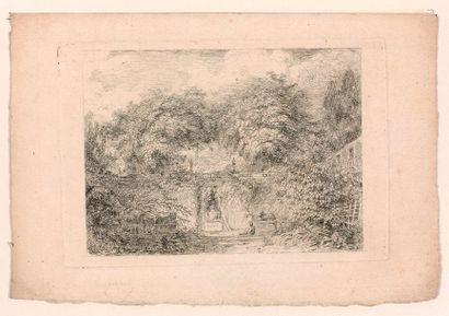 Honoré FRAGONARD (1732-1806)  Le Petit Parc,...
