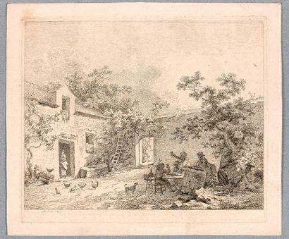 Jean-Baptiste-Denis LEMPEREUR (Paris vers 1740)  Cour de ferme  Eau-forte. Lugt...