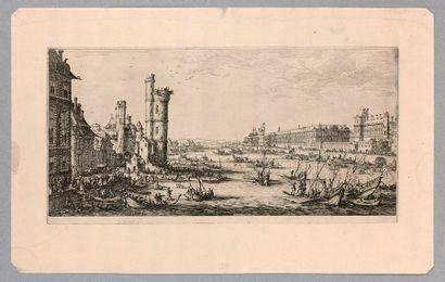 Jacques CALLOT (Nancy 1592-1635)  Les deux grandes Vues de Paris : Vue du Louvre...