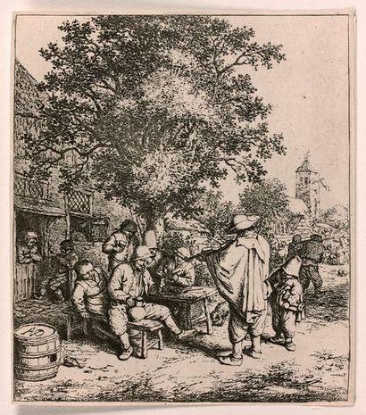 Adrian VAN OSTADE (1610-1685)  Le Ménétrier et le petit vielleur  Eau-forte originale....