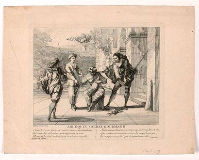 Claude GILLOT (1673-1722)  Arlequin soldat...