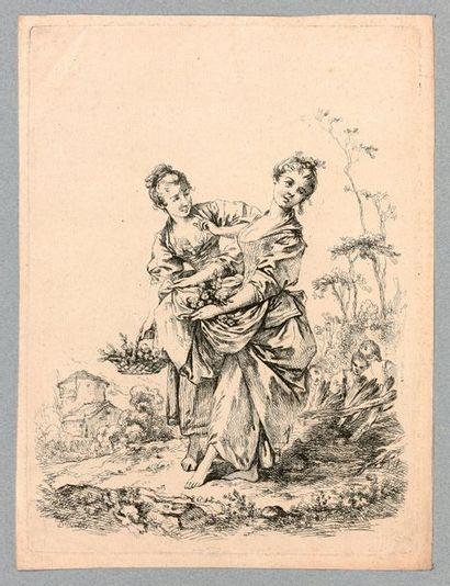 François BOUCHER (1703-1770)  Deux jeunes...