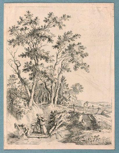 Aignan-Thomas DESFRICHES (1715-1800)  Paysage...